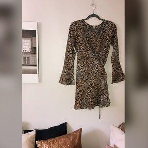 Leopard print wrap dress